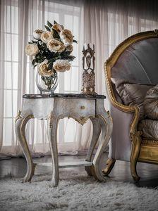 Art. 0146, Geschnitzter Nachttisch, klassischer Stil, mit Marmorplatte