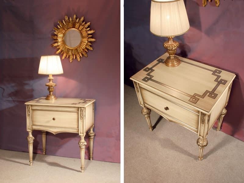 Art. 1340, Holz mit Intarsien Nachttisch, für klassische Hotel