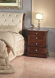 Art. 952/2 bedside, Nachttisch geschnitzt, Carrara Marmor, für Schlafzimmer