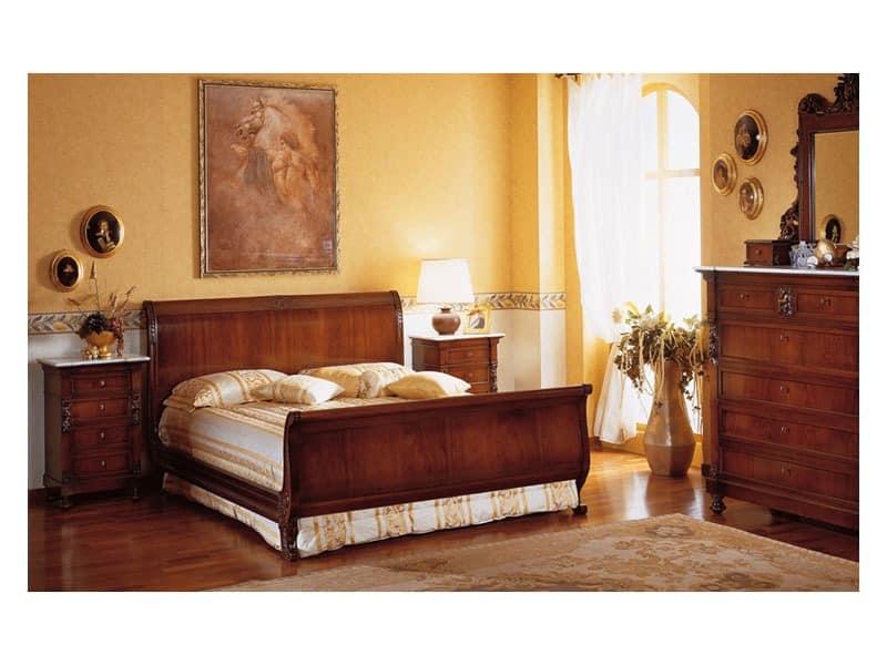 Art. 973 bedside table '800 Siciliano, Holz-Nachttische, mit Marmorplatte, für Luxus-Hotels