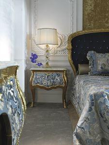 Nachttisch 3691, Klassischer Nachttisch mit Onyx-Platte