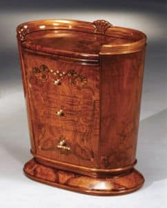 Flory Nachttisch, Nachttisch mit abnehmbaren Deckel, Blattgold Dekorationen