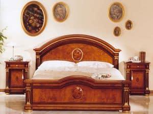 IMPERO / Kommode, Klassischer Luxus Bett, mit Schnitzereien, für Schlafzimmer