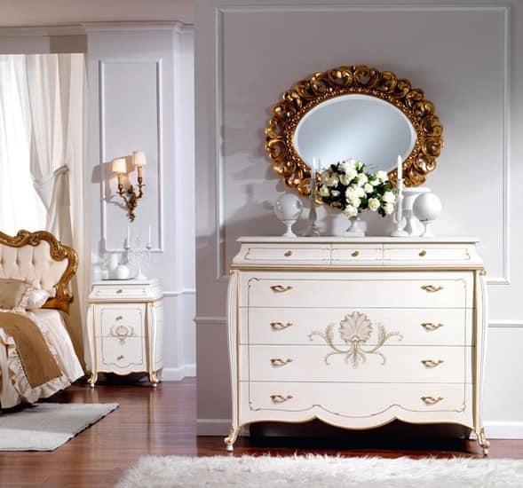 OLIMPIA B / Ivory lackiert Nachttisch, Nachttisch aus Massivholz, Luxus beendet
