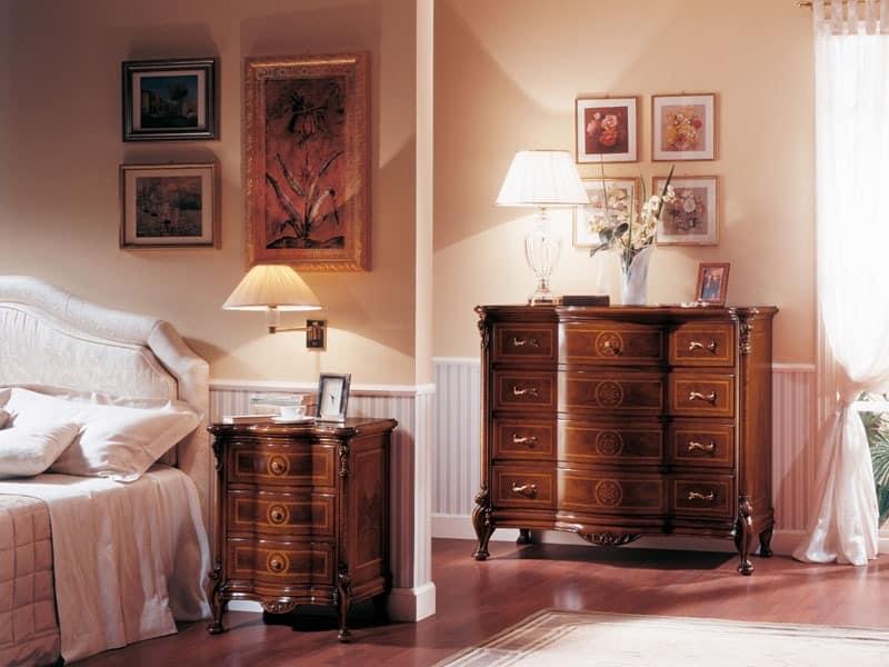 ROYAL NOCE / Nachttisch, Nachttisch aus Massivholz f�r Schlafzimmer geschnitzt