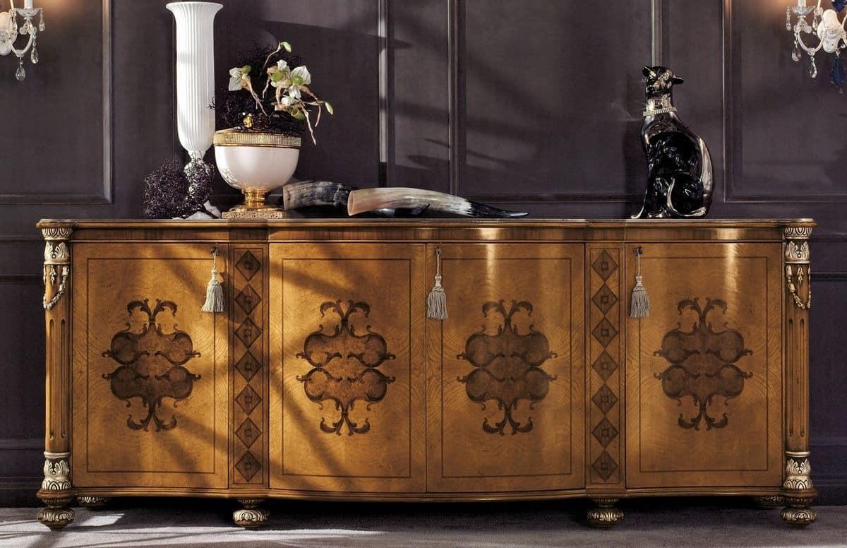 klassisches sideboard mit 4 t ren f r luxus wohnzimmer idfdesign. Black Bedroom Furniture Sets. Home Design Ideas