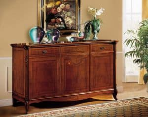 Alice Sideboard, Nussbaum Sideboard, mit feinen Schnitzereien und Intarsien, klassischen Stil
