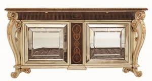 Allnatt LU.0001, Sideboard mit geschnitzten Beinen, eingelegter Spitze, Türen mit Spiegeln aus Murano, klassischen Stil