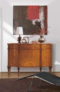Art. 143, Anrichte Luxus, Holz, Intarsien 3 Türen und 3 Schubladen, Marmor