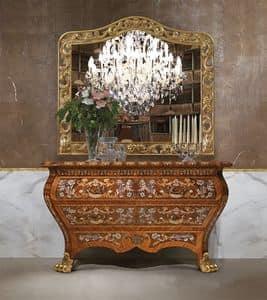 Art. 395, Anrichte Luxus, in Holz, mit 2 Schubladen, handgeschnitzt