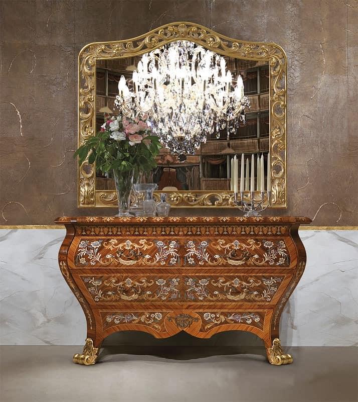 luxus wohnzimmer schränke:Art. 395, Anrichte Luxus, in Holz, mit 2 Schubladen, handgeschnitzt
