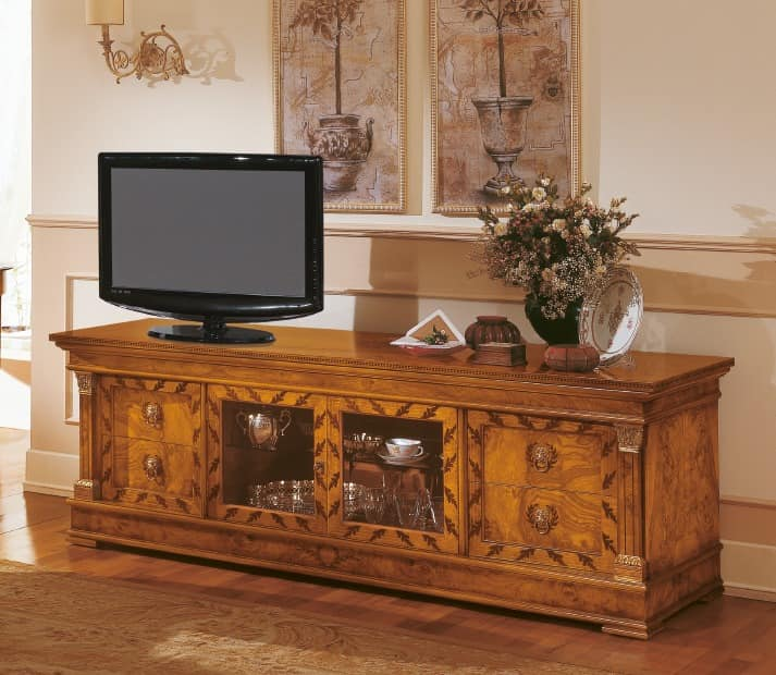sideboard klassischen holz tv st nder mit einlagen idfdesign. Black Bedroom Furniture Sets. Home Design Ideas