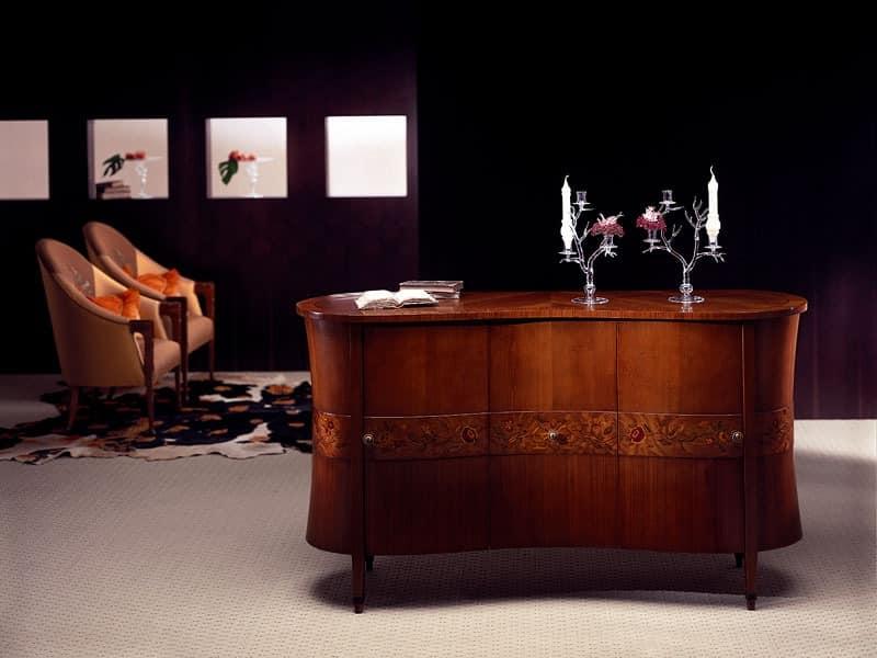 luxus wohnzimmer schränke:CR18 Godet, Klassisches Sideboard in gebogenem Holz, briar Schmuck