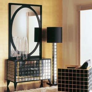 CR257, Classicl Luxus Sideboard aus Holz mit Spiegel Dekorationen
