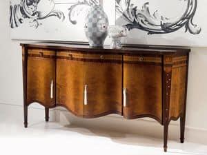 CR41 Pois, 4-Türer mit Intarsien Sideboard, im klassischen Stil, für Wohnzimmer