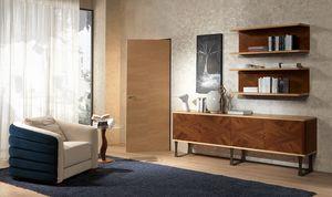 CR55 Desyo, Sideboard aus Holz mit 4 Türen im klassischen zeitgenössischen Stil