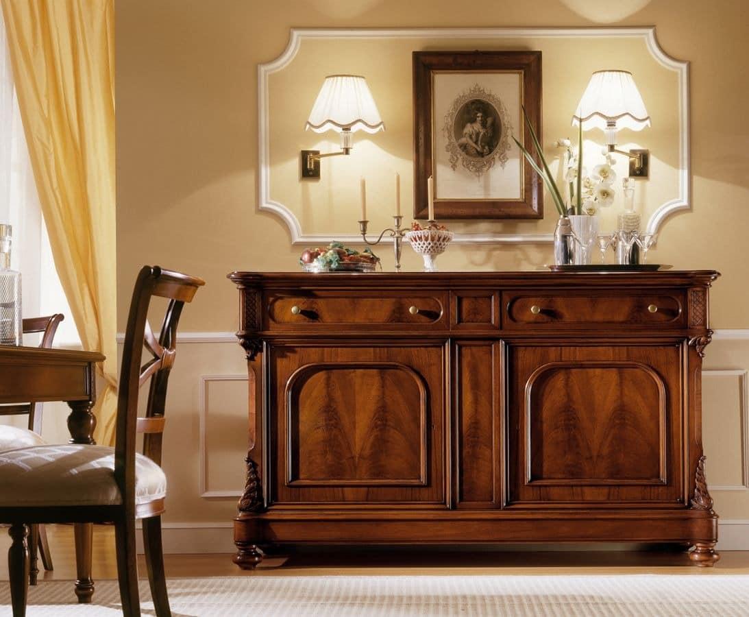 walnut anrichte mit 2 t ren und 2 schubladen idfdesign. Black Bedroom Furniture Sets. Home Design Ideas