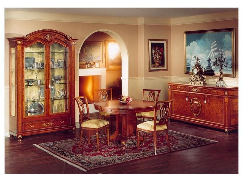 luxus wohnzimmer schränke:DUCALE DUCCR3P / Sideboard 3-türig, Intarsierte Anrichten Wohnzimmer