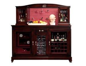 Elodie BR.0010.CU, Wine bar Handy mit Kühlschrank für Flaschen und Zigarren-Humidor, Zentralraum zu halten Gläser, Metallregal mit zwei kleinen Fenstern, Rückenlehne aus Leder mit Taschen abgedeckt