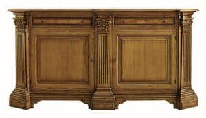 Scansano ME.0470.R, Oak Anrichte mit 2 Türen und 2 Schubladen mit Einlegearbeiten aus Esche, Säulen mit korinthischen Kapitellen, in klassischen Luxus-Stil