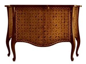 Velasquez RA.0648, Geformt und Intarsien Nussbaum Sideboard mit 2 Türen und 2 Innenschubladen, für klassische Umgebungen