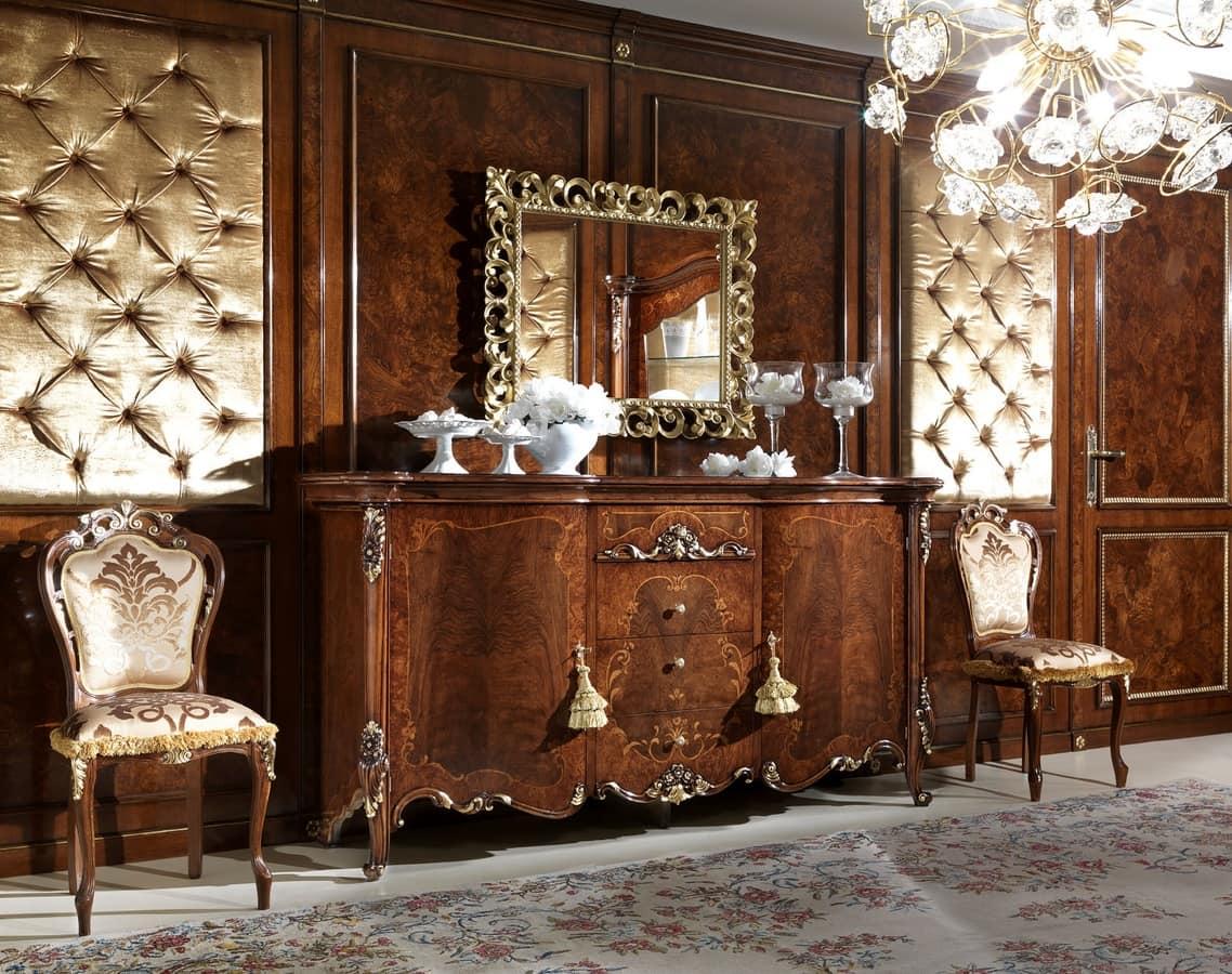 intarsien sideboard aus holz mit 2 t ren und 4 schubladen idfdesign. Black Bedroom Furniture Sets. Home Design Ideas
