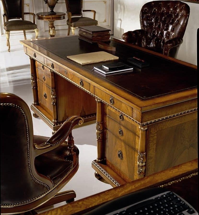 klassischer luxus furnierten schreibtisch mit 9. Black Bedroom Furniture Sets. Home Design Ideas