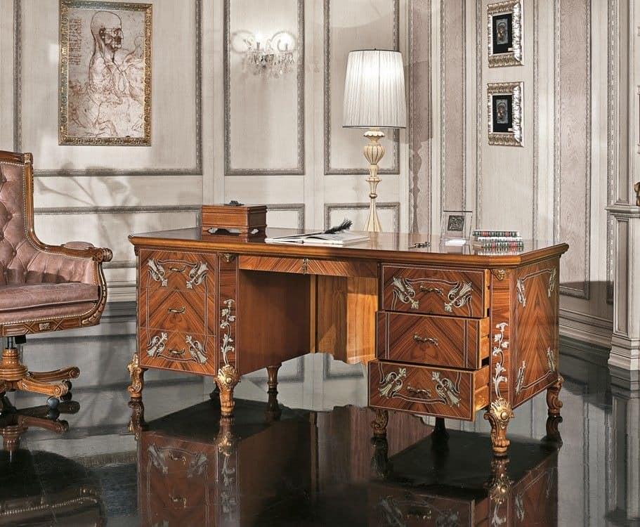 klassischer luxus schreibtisch im furnierholz idfdesign. Black Bedroom Furniture Sets. Home Design Ideas
