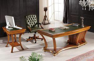 Art. 1250 LEATHER, Klassischer Schreibtisch mit Lederplatte