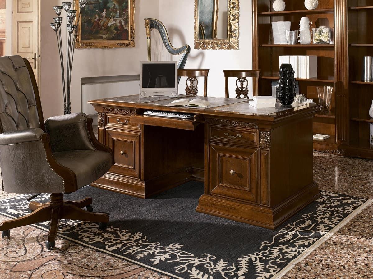 luxus klassischen schreibtisch in holz geschnitzt f r. Black Bedroom Furniture Sets. Home Design Ideas