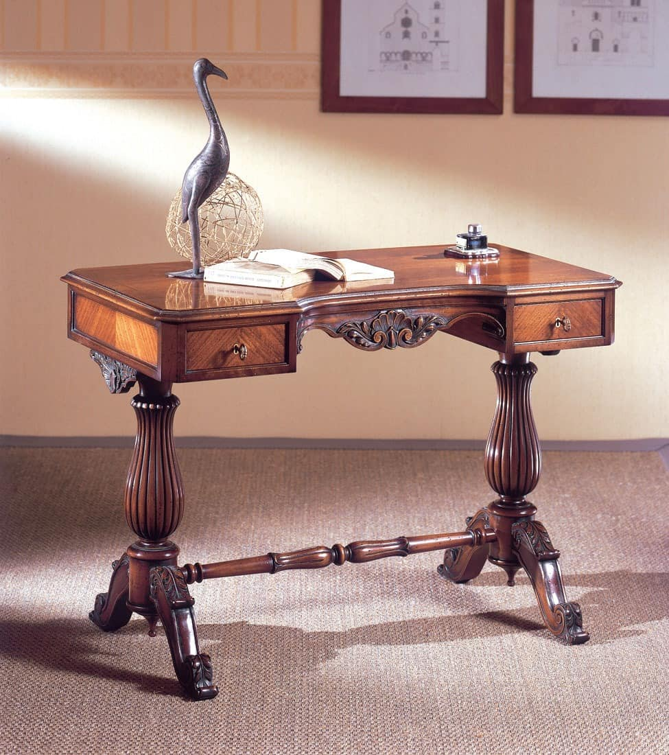 Art. 214, Luxuriöse Schreibtisch, Holz geschnitzt, mit 2 Schubladen