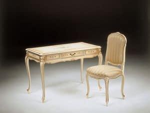 Art. 520, Schreibtisch aus Holz mit 1 Schublade, von Hand dekoriert