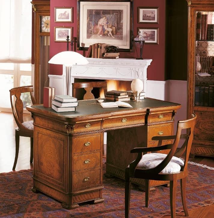 schreibtisch aus holz f r luxus b ros mit einlegearbeiten idfdesign. Black Bedroom Furniture Sets. Home Design Ideas