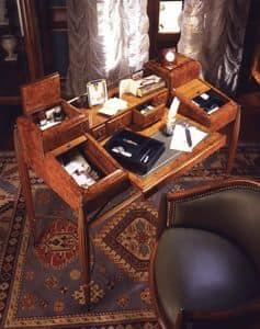 Art Déco Art.541 Schreibtisch, Schreibtisch in Nussbaum mit Satinieren