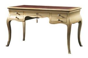 Eleonora FA.0047, Schreibtisch mit 5 Schubladen, Stil Louis XV