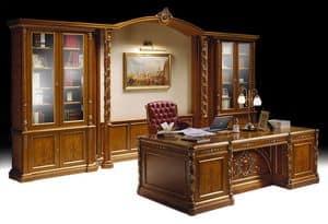 Ginevra Büro, Luxus klassische Büromöbel, Bücherregal und Schreibtisch eingelegt