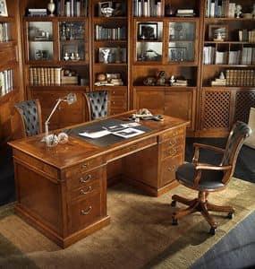 R 401, Executive Schreibtisch aus Kirschholz, Leder top, Geheimfach