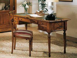 San Marco Schreibtisch, Klassischer Schreibtisch mit Lederplatte