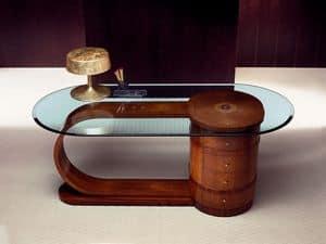 SC15 Zebrano, Schreibtisch mit Glasplatte, Massivholz, 4 Schubladen