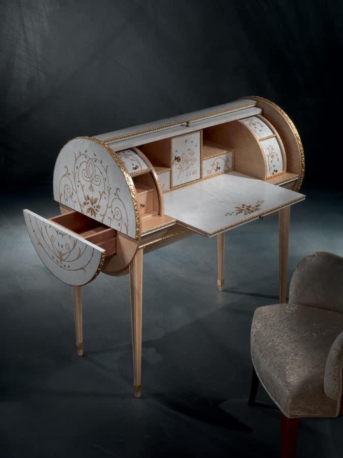 schreibtisch klassiker in lindenholz mit intarsien erable. Black Bedroom Furniture Sets. Home Design Ideas