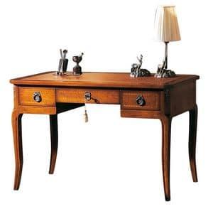 Strasbourg VS.5509, Schreibtisch in Nussbaum, mit 3 Schubladen und Leder-Top, für das Büro im klassischen Stil