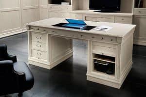 Victoria Art. 03.805, Schreibtisch mit 3 Schubladen und Abteil mit Rolltor