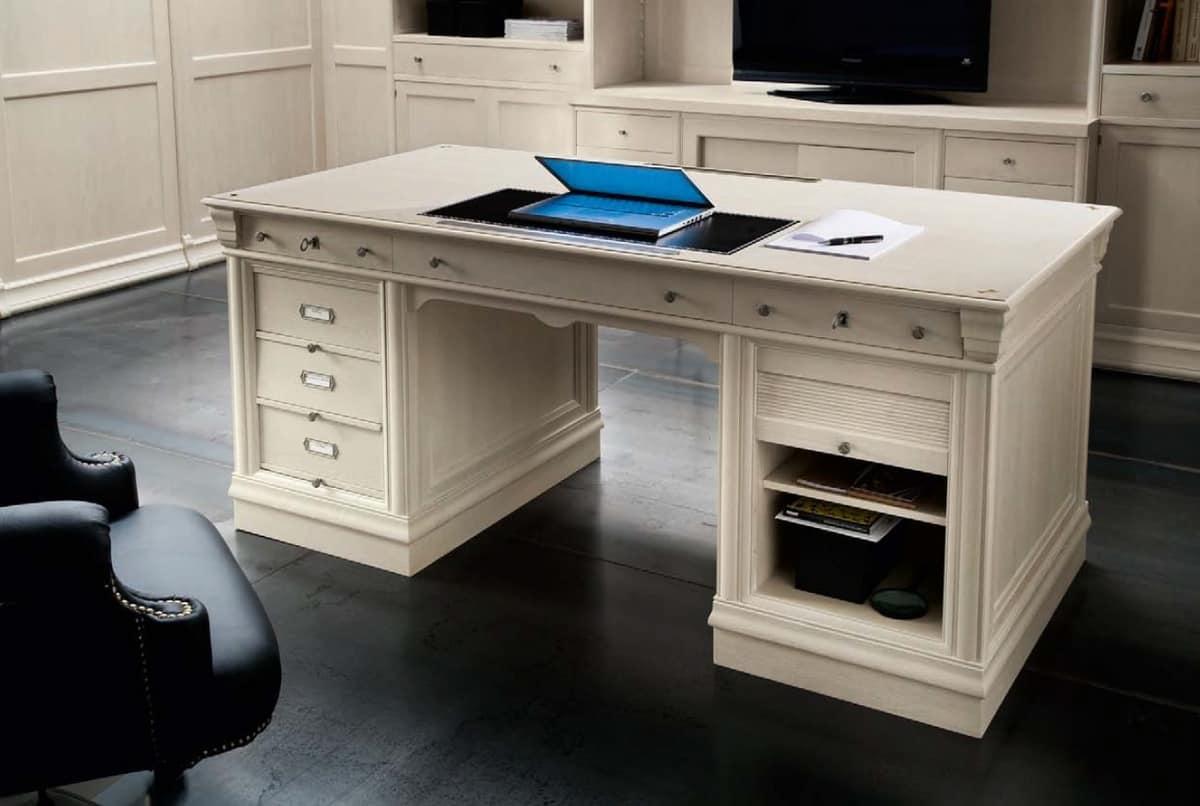 schreibtisch mit 3 schubladen und abteil mit rolltor idfdesign. Black Bedroom Furniture Sets. Home Design Ideas