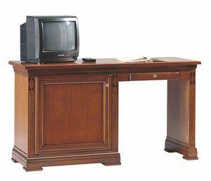 Villa Borghese Schreibtisch/Minibar L, Schreibtisch für Hotelzimmer, mit Minibar Schrank