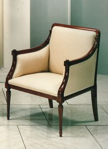 2090 SESSEL, Luxus Klassischer Sessel mit Holzstruktur sichtbar