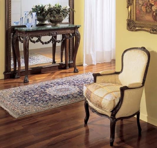 3160 ARMCHAIR LUIGI XV, Luxus-Sessel in Nussbaum, für Hotels und Restaurants