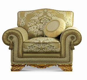 4642/L1, Gepolsterter klassischer Sessel mit geschnitzten Füßen