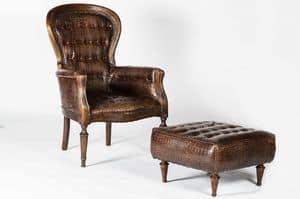 Art. 598/M, Klassischen Stil Sessel, in Kalbsleder bedeckt