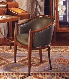 Art Déco Art.551 Sessel, Klassischer Sessel aus echtem Leder