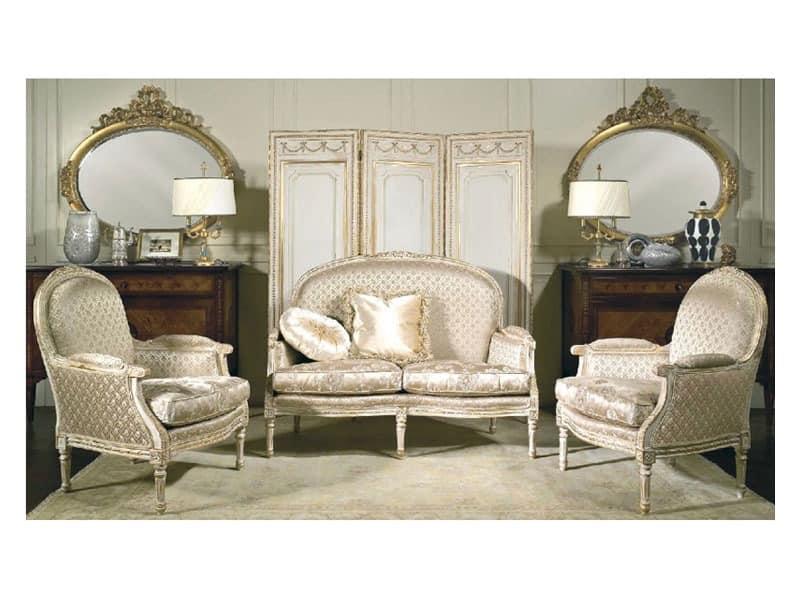 Art. RI 81 Rialto, Holz-Sessel, mit Patina und Vergoldung Dekorationen, für klassische Hotels